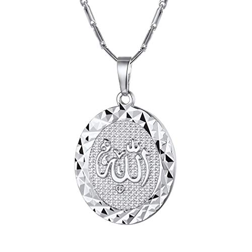 Suplight Oval Allah Necklace for Women Gold Islamic Religious Jewelry Cubic Zirconia Muslim Arabic Allah Pendant Gifts for Her