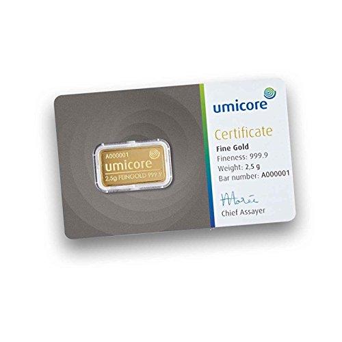 UMICORE 2,5g Gramm Goldbarren 999.9