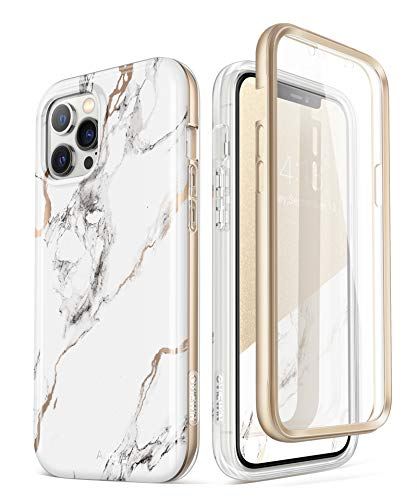 GVIEWIN Aurora+ Case Compatible with iPhone 12 Pro Max 6.7 Inch (2020 Release), [Built-in Screen Protector] [Full-Body Protection] Shockproof Slim Stylish Marble Cover Case (White/Gold)