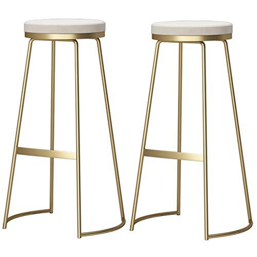 Barhocker ohne Rückenlehne mit Fußplatte, Beistellstuhl Frühstücksstuhl, Stühle mit goldenen Beinen, Sitzhöhe 75cm, Weiß/Graues Samtkissen (2er-Set Barhocker)