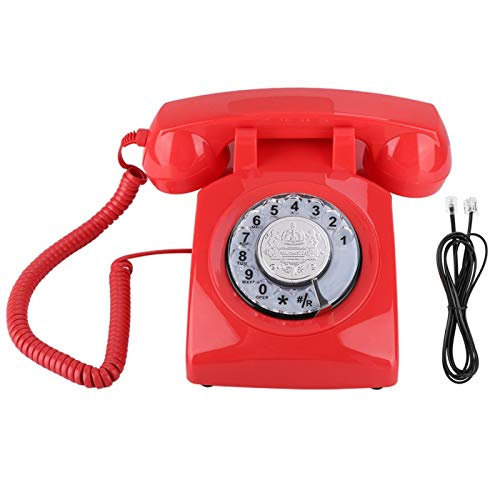 SUCIE Teléfono, Dial Teléfono Decorativo Vintage Clásico Retro para Oficina(Red, 10)