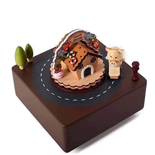 Sebasty Candy House Pig Caja de música de Madera Mecanismo de relojería Haya Niños Manualidades Regalos creativos Regalo de cumpleaños Día de San Valentín Presente Música Pura