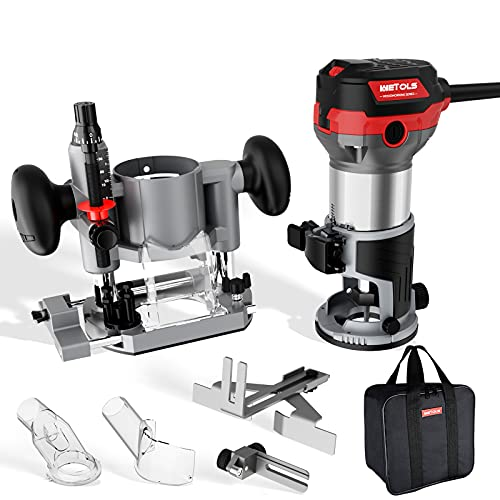 WETOLS Compact Router Tool Set, Fixed/Plunge Base Kit, 6 Variable Speed, 1-1/4-HP Max Torque, Must Have Woodworking Tools with Carrying Case & Edge Guide and Parallel Guide
