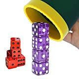 Dice Stacking Cup(Green) Set with 4 Pcs 19mm(Puple) and 5 Pcs 18mm(Red) Standard 6 Sided Dices, with Storage Bag-Magic Tricks Instruction