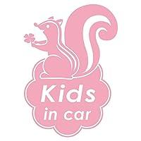 imoninn KIDS in car ステッカー 【シンプル版】 No.36 リスさん (ピンク色)