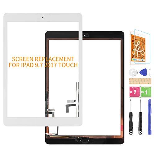 per iPad 9.7 2017 A1822 A1823 Touch Screen Digitizer Vetro di Ricambio per iPad 5 Air 1st Touch Display Panel Parti di Riparazione, con Tasto Home (Non Includere LCD) (Bianco)