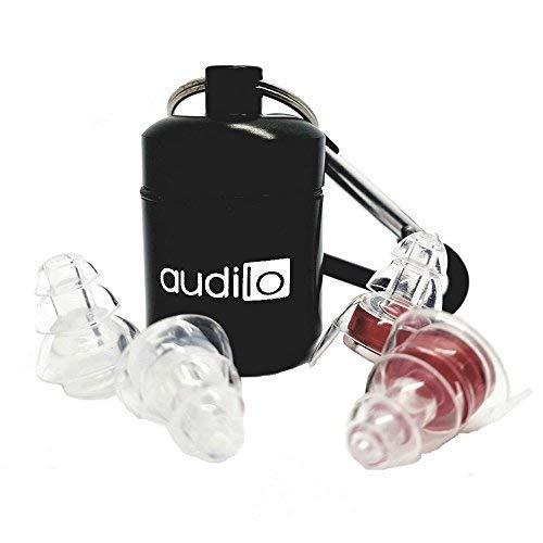 Multifunctionele oordopjes Audilo Gehoorbescherming voor geluidsdemping (vliegtuig, motorfiets, slaap, muziek), 23 decibel, herbruikbare doppen: 4 oordopjes + 2 filters + 1 transportdoos.