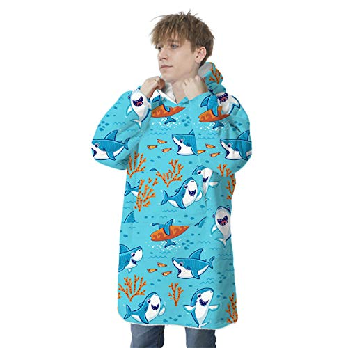 Oversized Hoodie Blanket, Family Matching Oversized Wearable Blanket Cute Animal Print Hoodie Sweatshirt Super Warm and Cozy Fleece Pullover with Giant Front Pocket