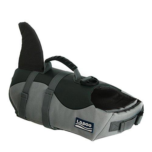 POPETPOP Pies rekin kamizelka ratunkowa regulowana kamizelka ratunkowa dla psa dla bezpieczeństwa wody na basenie, na plaży, w łódce rozmiar S (szary)