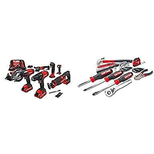 CRAFTSMAN V20 Cordless Drill Combo Kit, 7 Tool with Mechanics Tools Kit/Socket Set, 57-Piece (CMCK700D2 & CMMT99446)