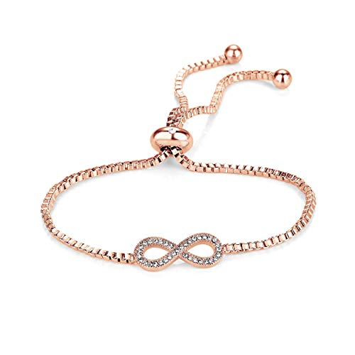Philip Jones Rose Gold Infinity Friendship Bracelet Created with Austrian Crystals