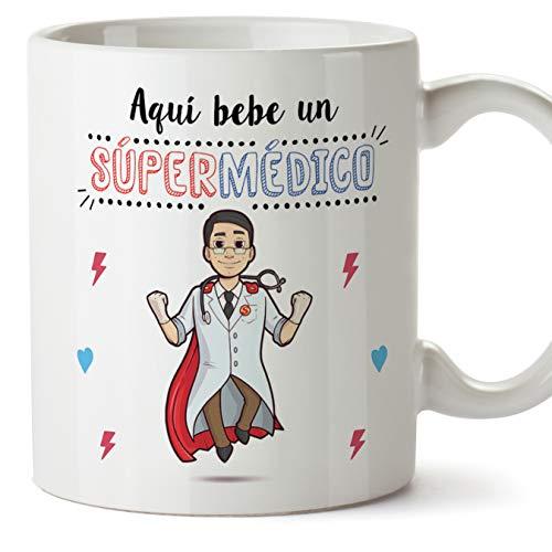 MUGFFINS Medico Tazas Originales de cafe y Desayuno para Regalar a Trabajadores Profesionales - AQUÍ Bebe UN SÚPER MÉDICO - Ceramica 350 ml