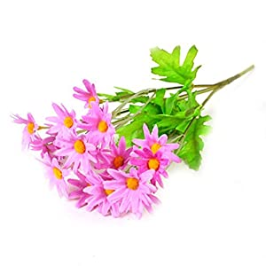 Sasike Artificial Flowers Fake Small Wild Chrysanthemum Realistic Daisy Mini Bicolor Chrysanthemum Spring and Summer Farmhouse Indoor and Outdoor Desktop Decoration (Light Pink)