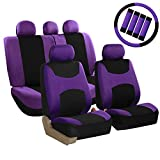 FH Group FB030PURPLE-COMBO Seat Cover Combo Set with Steering Wheel Cover and...
