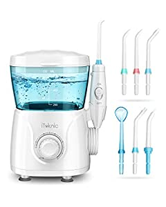 【Easy & Effective, Deep Clean】iTeknic electric water flosser offers high efficiency water pulse 1250-1700 times/min and high water pressures up to 125psi, removing up to 99.9 percent of food and bacteria between teeth, cleaning and massaging the gums...