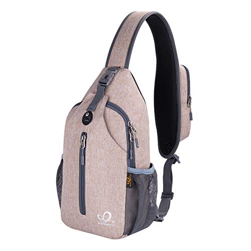 Waterfly Crossbody Sling Backpack Sling Bag Travel Hiking Chest Bags Daypack (Flaxen)