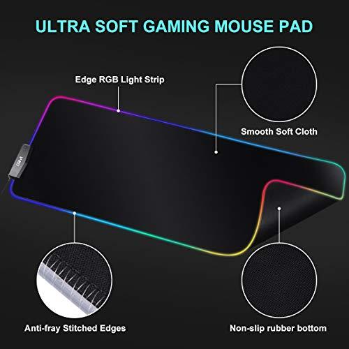 ICETEK LED RGB Gaming Mauspad 800 x 300 x 5mm XXL mit 4 USB Anschlüsse 14 Beleuchtungsmodi 10 Farben Mousepad Wasserdicht Rutschfest