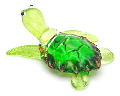 Zoo Craft, handgeblasene Glasfigur, süße grüne Schildkröte, handgefertigt, Miniatur