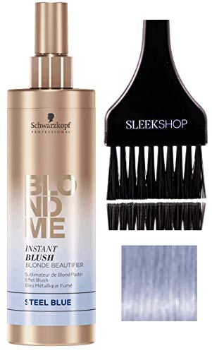 Schwarzkopf Blond Me INSTANT BLUSH BLONDE BEAUTIFIER - Steel Blue (with Sleek Tint Brush) Blonde Me Spray-On Temporary Pastel Tone Color (STEEL BLUE - 8.4 oz)