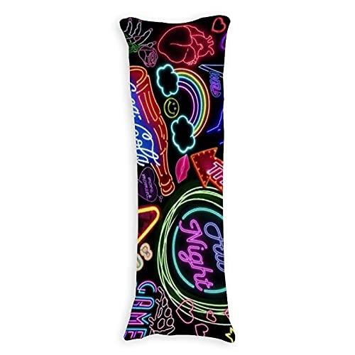CICIDI Funda de almohada de 50 x 137 cm, diseño de letreros de neón transpirable, con cremallera de algodón y poliéster, funda de almohada de cuerpo largo