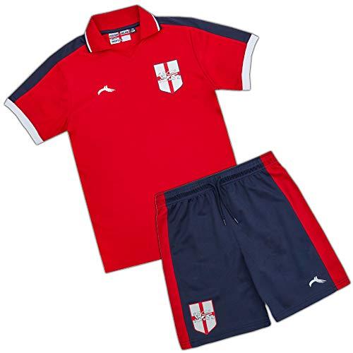 Metzuyan Kids Childrens Boys England Home Football Soccer Red T-Shirt Navy...