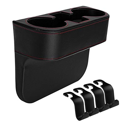 IYOYI Leather Car Seat Gap Filler Front Console Side Cup Holder Drinks Car Storage Organizer Box 4pcs Car Headrest Hooks for Phone Wallet Key Card Cup (Seat Gap Filler - Black)