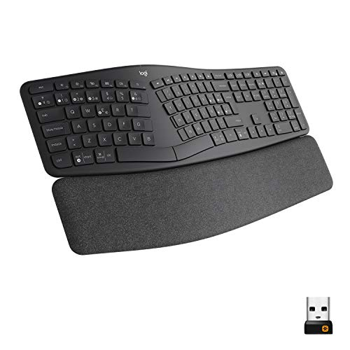 Logitech ERGO K860, teclado ergonómico inalámbrico con distribución de teclado partido, reposamanos, tejido resistente a las salpicaduras, Windows/Mac, Bluetooth, USB, QWERTY Español , Gris