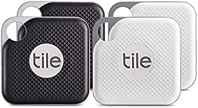 Tile Inc, Pro Black and White Combo, Bluetooth Tracker and Finder, Water Resistant, Replaceable Battery, Easy to Attach for Keys, Pet Collars and Bags (4 Pack)