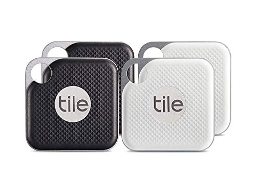 Tile Inc., Pro Black and White Combo, Bluetooth Tracker and Finder, Water Resistant, Replaceable Battery, Easy to Attach for Keys, Pet Collars and Bags (4 Pack)