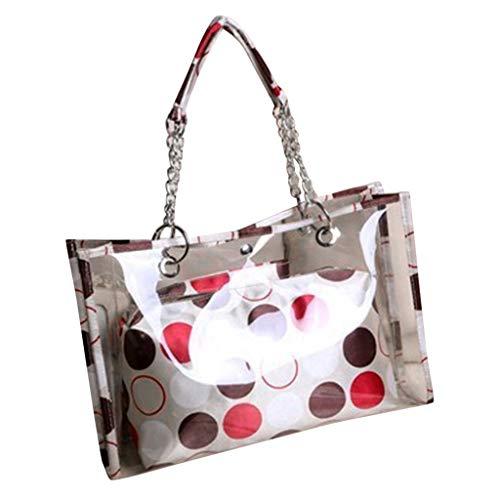LIHAEI Handtasche Durchsichtige Tasche Kleine UmhäNgetasche Damen Schultertasche Sternstreifen Handtaschen Totes Transparent Jelly Bags Mit GroßEr KapazitäT