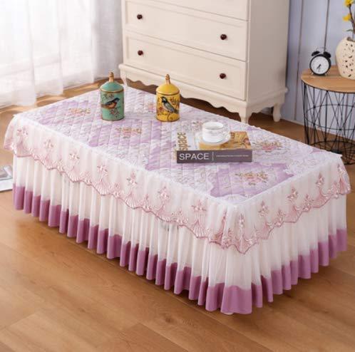 XXCKA - Mantel de mesa baja rectangular de tejido de encaje, mantel de salón o casa (90 cm de ancho x 160 cm de largo x 40 cm de altura)