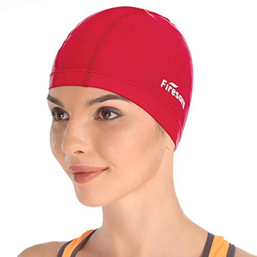 Firesara Lycra Swim Cap, High Elasticity Swimming Cap Keeps Hair Clean Breathable Fit Both Long Hair Short Hair, Swim Caps Woman Girls Men Kids One Size Hat