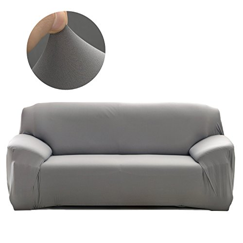 Cornasee Elastischer Sofabezug 4 Sitzer, Sofa-Überwürfe Sofahusse Couchhusse Spannbezug für Sofa mit Armlehne,Grau
