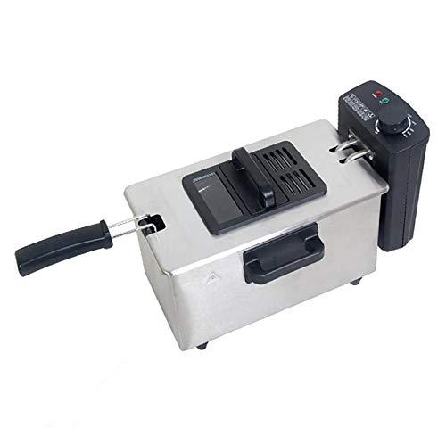 Freidora Eléctrica de Acero Inoxidable, Sartén Eléctrica para Freidoras de Chips de 3 L, Fácil de Limpiar, para Uso Doméstico y Comercial (Cilindro Único)