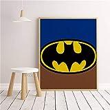 SDFSD Cartoon Classic Superheld Logo Filmfigur Einfaches Poster Kinderzimmer Kinderzimmer Wandkunst...