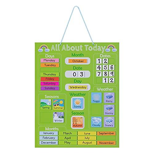 Navaris Calendario de Aprendizaje para niños - Tablero Educativo Montessori en inglés - Pizarra para Aprender días de la Semana Clima con 41 imanes