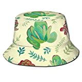 N \ A Suculenta Negro Cubo Sombrero Al Aire Libre Plegable Pescador Sombrero Moda Pescador Playa Sol Sombrero Mujer Hombre Adolescente