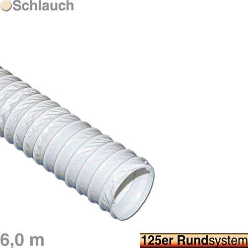 VIOKS 6m Abluftschlauch Luftschlauch für Abzugshaube Klimaanlage Trockner Dunstabzug Abluft Material: PVC Durchmesser: 125 mm 12,5 cm Schlauch Länge: 6,0 Meter