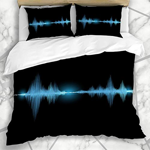 Conjuntos de funda nórdica Musical Ondas de sonido negro Resplandor oscilante Luz azul Frecuencia Resumen Ecualizador industrial Música de voz Microfibra Ropa de cama con 2 fundas de almohada