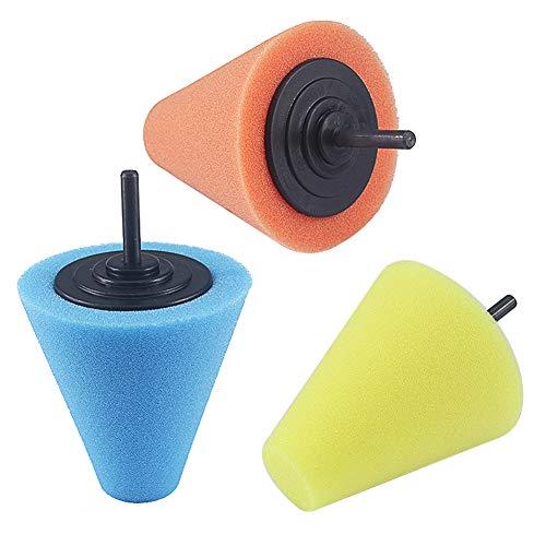 Paor - Cono de espuma para pulir, almohadillas y gamuza para pulir ruedas, para usar con taladro eléctrico, paquete de 3
