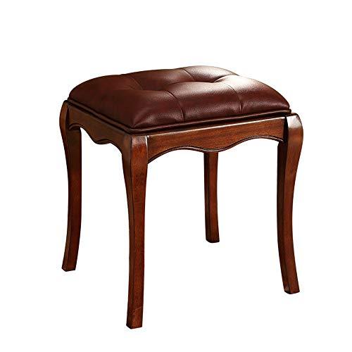 Teet Dressing stoel houten frame Vanity kruk make-up dressing kruk met luchtige linnen stof en vaste poten Hevea kleine kruk