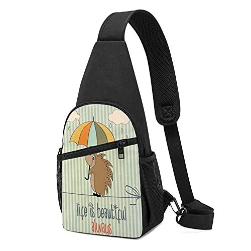 Schultertasche, Igel mit Regenschirm, ein Gurt, zum Wandern, Crossbody-Brusttasche, leicht, für Damen und Herren