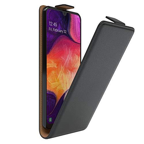 EAZY CASE Hülle kompatibel mit Samsung Galaxy A50 / A30s / A50s Flip Cover zum Aufklappen, Handyhülle aufklappbar, Schutzhülle, Flipcase, Flipstyle Case vertikal klappbar, Kunstleder, Schwarz