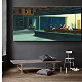 GZCJHP Pintura sobre lienzo 60x80cm sin marco Famoso Pintura Nighthawks Por Edward Hopper Wall Art Cuadros en la pared para sala de estar