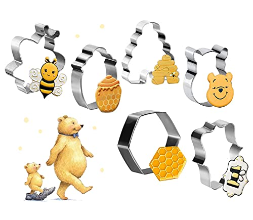 6 Pcs Bee Cookie Cutter Set, Winnie the Pooh Molds, Bee, Honeycomb, Hexagon Honey Jar Cookie Cutters Molds for Bee Party Making Biscuits, Sandwiches Fondant Decorations
