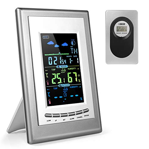 Weather Station, 2020 New 8 in 1 Vertical Color Large Weather Station with Smart Weather Monitor Clock / Wind Speed/ Indoor Outdoor Temperature and Humidity/ Display Alarm Clock for Office and Home