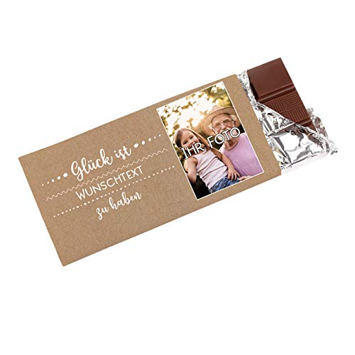 Herz & Heim® Personalisierte Schokolade mit Foto - Glück ist - mit Wunschtext-Aufdruck