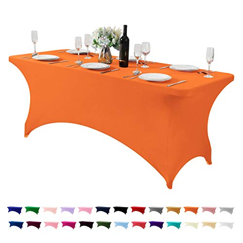 Spandex Table Cover for 6Ft or 4fT or 8ft Table Universal Fitted Stretch Tablecloth for Party, Banquet, Wedding and Events