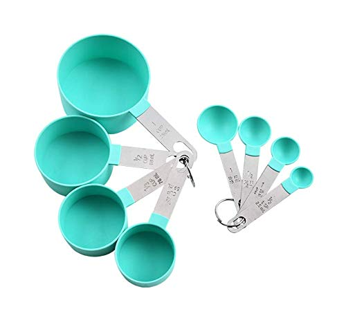 Measuring Cups and Spoons Set of 8 Pieces, Plastic Measuring Cups and Spoon with Stainless Steel Handle for Dry and Liquid Ingredient, Essential for Baking and Cooking