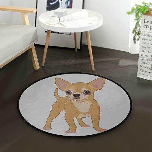 Teppichboden Netter Welpe Hund Chihuahua Cartoon Zimmer Teppich für Kinder Kinderzimmer Teppich Runde 3 Fuß rutschfest für Schlafzimmer Wohnzimmer Studie